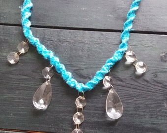 Blue Hemp Sun Catcher with Upcycled Chandelier Pendants