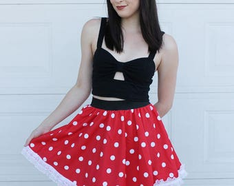 MINNIE MOUSE SKIRT- Handmade Disney Skirt - Halloween Costume Minnie Mouse - Red White Polka dot - Halloween Costume adult - Disney skirt