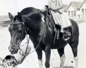 vintage photo 1920 Little Girl Riding her Horse Pony at Beach