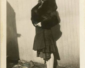Vintage photo 1939 Detroit Michigan Lovely Teen Girl Fur Coat Cloche Flapper Era