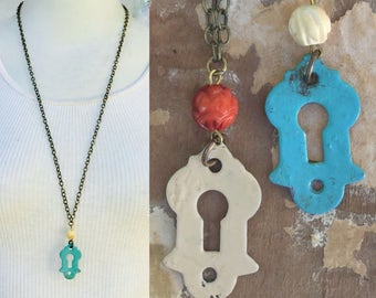 Vintage keyhole necklace. Blue or white chippy paint. Antique Echelon Jewelry. Steampunk Rustic shabby chic brass ox chain Unique color Zz