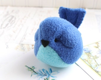 Bluebird Kawaii Plush Bird Royal Blue Cobalt Blue and Aqua Handmade Blue Bird Stuffed Animal Plush Bird Bubbletime Plush Fleece Bird