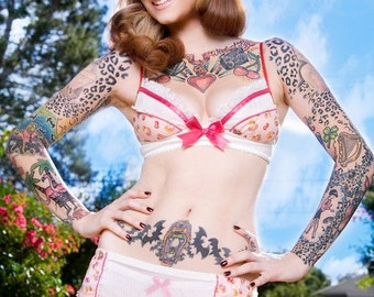 Light Pink Delish Cakes Garter Belt - Pick Your Size - Handmade Vegan Bridal