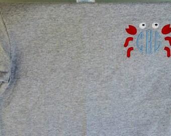 Custom Embroidered Monogrammed Crab Shirt - Crab Monogram Shirt - Summer Shirt - Beach Shirt - Vacation Shirt - Personalized Shirts
