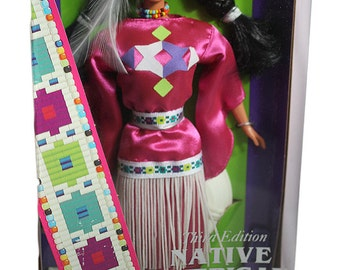 Vintage 1995 Native American Barbie from Southern Plains Pink Tribal Costume Mattel Dolls of the World Collection Third Edition