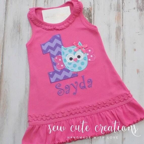 Owl Birthday Dress Owl Dress Birthday Owl Dress First Birthday dress Colorful owl dress Girl birthday dress sew cute creations