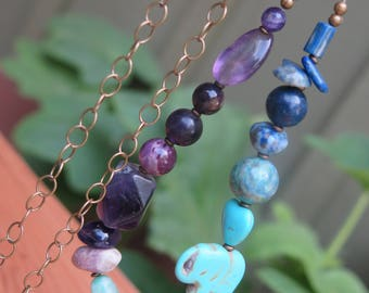 Long Stone & Brass Chain Beaded Necklace -  Crystal Jewelry Gypsy - Bohemian Free Spirit Good Vibes - Ombre Purple Turquoise Elephant