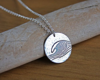 Silver Ocean Wave Necklace Handmade Original Design Sea Wave Pendant Recycled Silver Sterling Chain Argentium Simple Surfer Nautical #17489