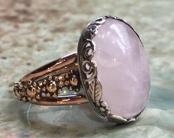 Rose quartz ring, Bohemian ring, cocktail ring, gypsy ring, silver gold ring, gemstone ring, large stone ring, oval ring - Honeymoon R2427