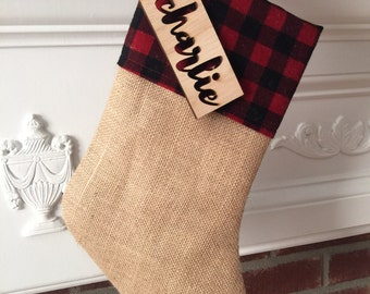 CHRISTMAS in JULY SALE!!!  Burlap Christmas Stocking - Buffalo check - Red and black - Plaid - Free personalized tag -