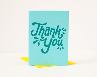 thank you cards retro teal