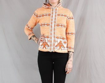 1960's Cowichan Eagle Zip Up Hooded Sweater in Small or Medium . Orange and White Cardigan . Knit American Design . Heavy Thick Hood Hoodie