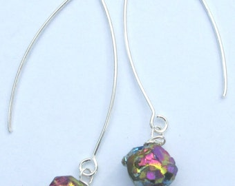 NEW Titanium glaze abstract nugget sparkle long drop wire wrapped unique design pierced dangle hand made earrings by Ziporgiabella