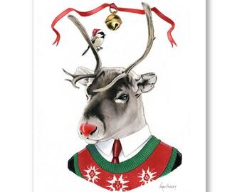 Rudolph the Red Nosed Reindeer art print by Ryan Berkley 8x10