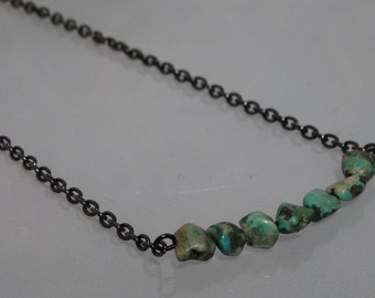 Turquoise Nugget and Gunmetal Swing Necklace