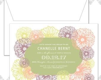 Garden Flower Shower Invite, Modern Flower Invite, Flowers, Flower Shower Invite, Spring Shower Invitation, Big and Bright flowers, Shower