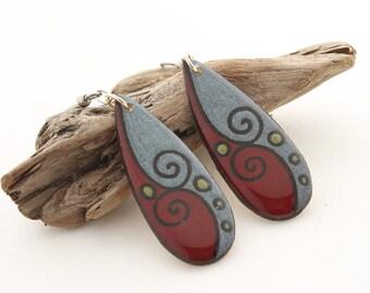 Wood Teardrop Statement Earrings, Long Lightweight Dangle Earrings, Simple Everyday Earrings, Modern Geometric Earrings, Hypoallergenic