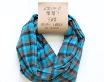 Infinity Scarf - Plaid - Flannel - Oversized - Aqua, Olive & Black - Warm - Winter- Cozy - Unisex - Gray