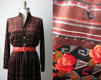 1970s Dress Velour Dress Geometric + Floral Print Dress 70s Dress
