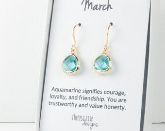Tiny March Birthstone Aquamarine Gold Earrings, Gold Earrings, March Birthstone Gold Earrings, March Birthday Gift, Bridesmaid Earrings