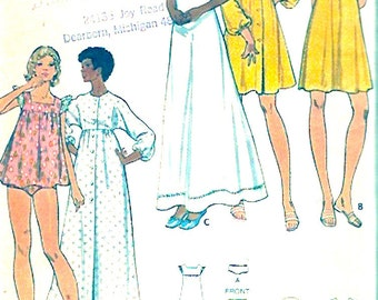 60s Womens babydoll nightgowns robe panties lingerie vintage sewing pattern Butterick 3160 Bust 38