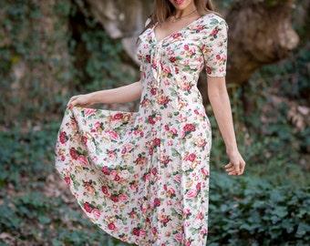 Vintage Ivory Pink Floral Rose Garden Dress (Size Medium)