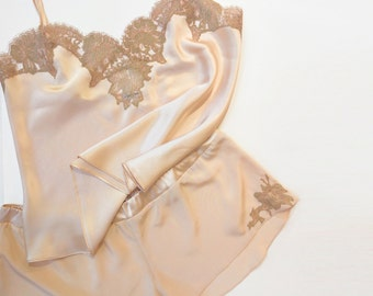 Silk 2 pc lingerie set: Genevieve camisole and tap pants - cami silk top tank shorts with French lace trim, handmade blush pink lounge wear