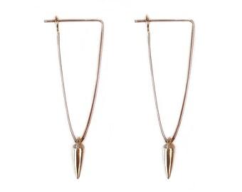 Spiked Earrings - Spiked Drop Earrings - Brass Spikes - Tiny Spike Earrings - Minimalist - Urban Earrings - Gifts Under 35 -Made In Brooklyn