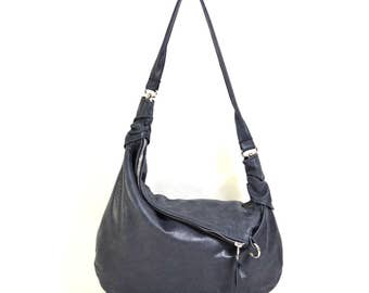 Rosaire - Handmade Charcoal Grey Black Leather Twin Size Hobo Shoulder Bag. SS17