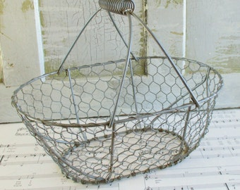 Vintage Metal Wire Mesh Gathering Basket