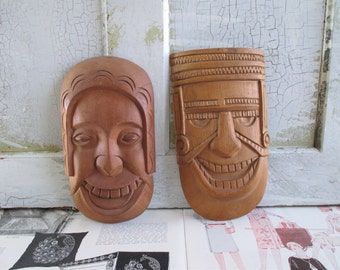 Pair of Vintage Wooden Carved Faces