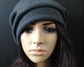 Fleece Hat Slouchy Beret Tam Charcoal Gray Cold Weather Fashion