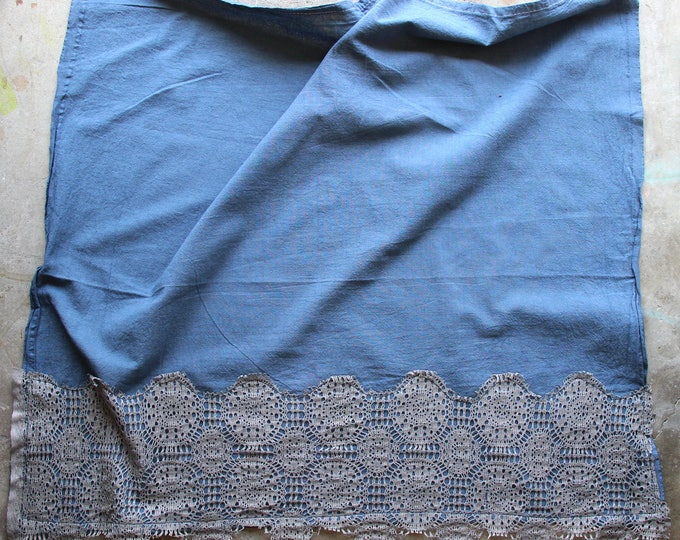 Navy Blue Hand Dyed Tea Towel with Lace Trim