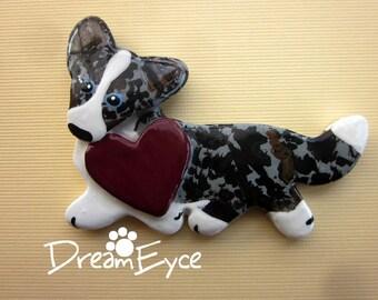 Cardigan Welsh Corgi Love Pin Artist Hand-Made OOAK Brooch Dog Art Jewelry