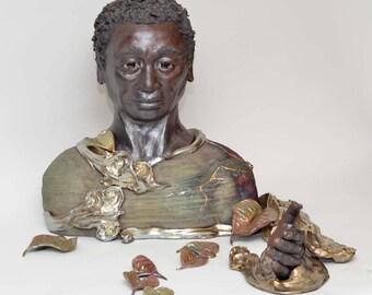 Figurative Sculpture African Man Bust Raku Ceramics by Anita Feng