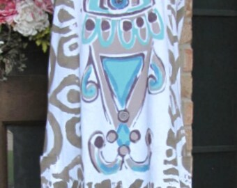 Handpainted Ladies taupe brown and teal cotton tank top