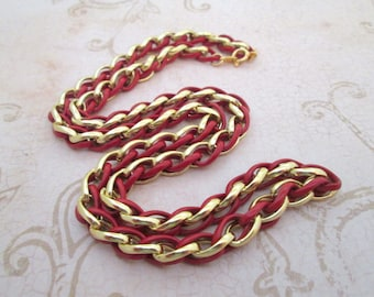 Vintage Red and Gold chain, Trifari, brass chain, red chain, enamel necklace, gold chain necklace, long gold necklace, long gold chain