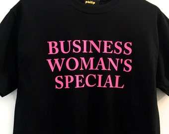 BUSINESS WOMAN'S SPECIAL neon pink print t-shirt - black