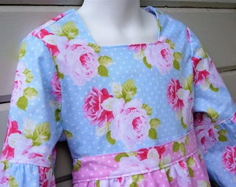 Girls Apron Dress with Lantern Sleeves One of a Kind Ready to Ship in Size 6