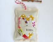 fabric scrap XOXO Valentine's Day heart lavender sachet ornament, cotton appliqued whimsical sewn folk fabric XOXO love heart ornament No.42