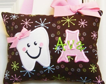 Tooth Fairy Pillow for Girls Personalized Brown Bursts