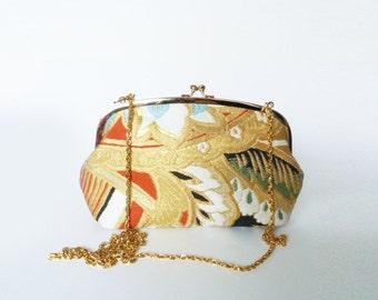 Handbag, vintage metallic gold Japanese obi fabric, decorative woven design