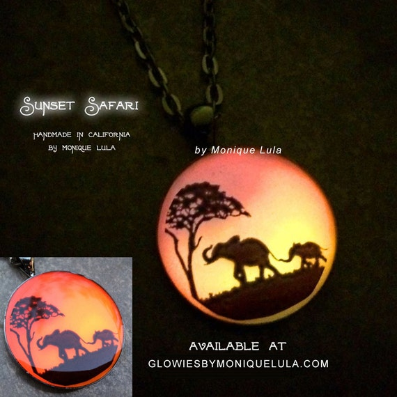Elephant Sunset Safari Art Glow Necklace