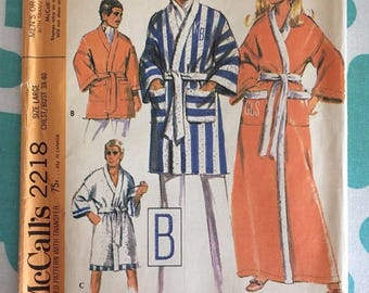 Vintage McCall's Unisex Robe Pattern #2218 Sz Lrg Chest 38-40 - INCOMPLETE- OH - Vintage McCall's Pattern / 70s McCall's / 70s Pattern
