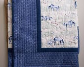 Reserved for Jennifer, Final 75% Payment on a Custom Organic Cotton Toddler quilt in Wild Horses with Dusk