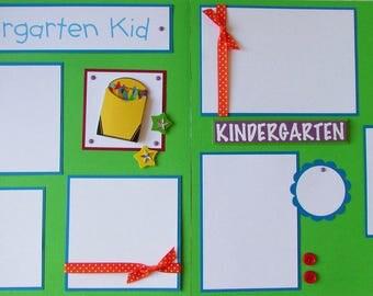 12x12 Premade Scrapbook Pages - school layout boy girl -- KINDERGARTEN KID -- school days, first day of school, school years album