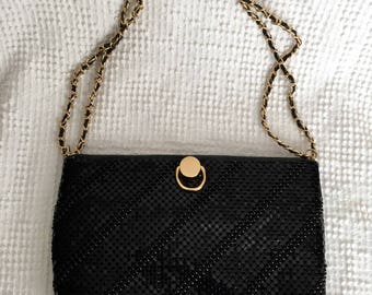 Vintage Black Beaded Purse with Gold Accent and Gold Chain over Black Strap - Perfect for a Wedding or Any Special Occasion