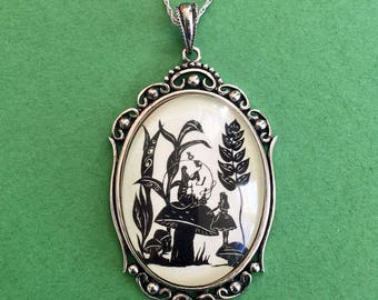 Sale 20% Off // ALICE'S ADVENTURES in WONDERLAND Necklace - Advice from a Caterpillar, pendant on chain // Coupon Code SALE20
