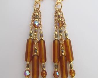 Chain Dangle Chandelier Earrings - Topaz
