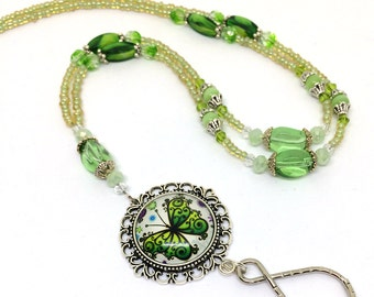 Beaded Lanyard - Spring Green Butterfly with Green Beads